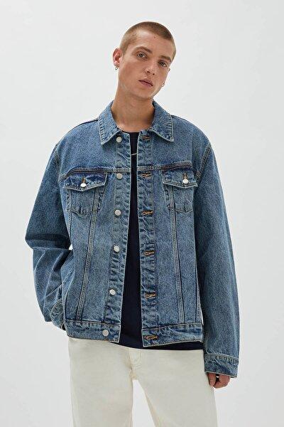 Koyu Mavi Standard Fit Denim Ceket