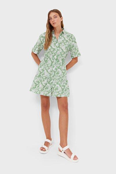 Desenli Kısa Gömlek Elbise