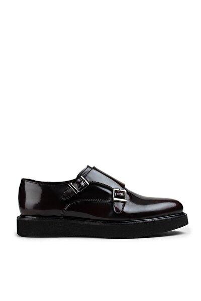 Hakiki Deri Bordo Açma Günlük Çift Tokalı Kadın Ayakkabı
