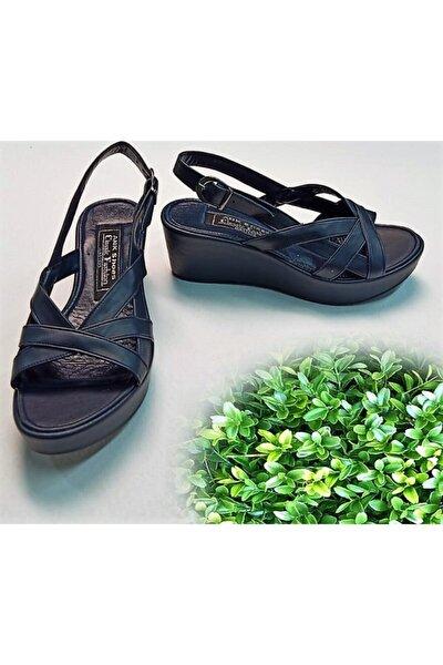 121 Lacivert Cilt Dolgu Platform Içi Yumuşak Şilte Taban Günlük Bayan Ayakkabı