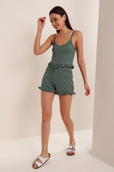 Kadın Mint Askılı Fırfırlı Pijama Takımı