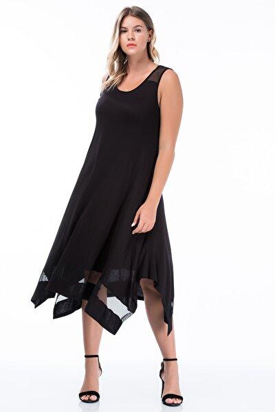 Kadın Siyah Omuz Ve Etek Ucu File Detaylı Kolsuz Uzun Viskon Elbise 65N27309