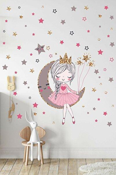 Ayda Oturan Sevimli Kız Çocuk Odası Duvar Sticker Seti