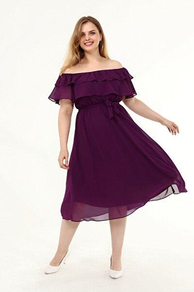 Karmen Yaka Büyük Beden Şifon Elbise 30y-1824