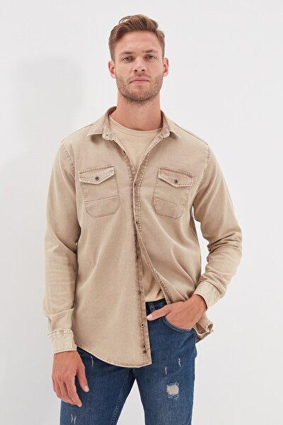 Bej Erkek Regular Fit Metal Düğmeli Gömlek TMNSS20GO0104