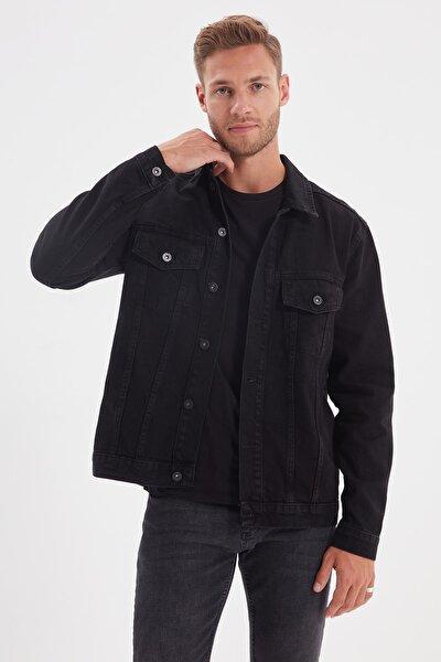 Siyah Erkek Regular Fit Basic Denim Ceket TMNAW22CE0019