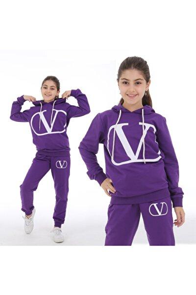 Kız Çocuk Kapüşonlu Eşofman Takımı