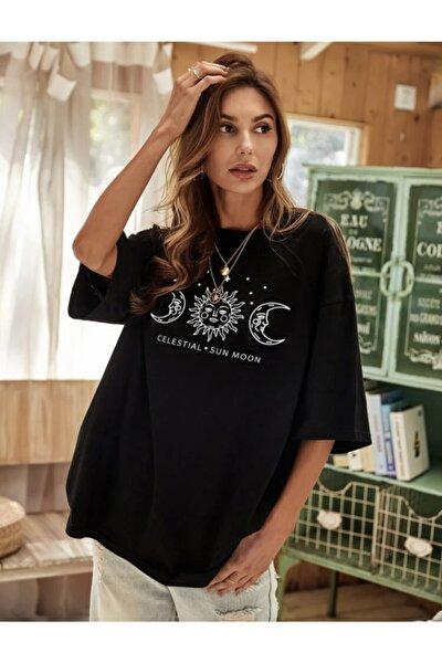 Kadın Siyah Sun Mood Baskılı T-shirt