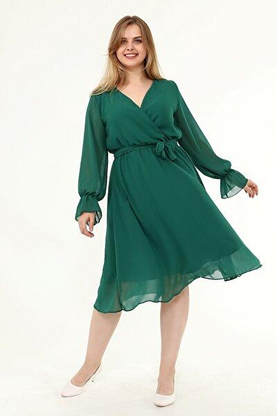Uzun Kol Büyük Beden Şifon Elbise 30y-1823