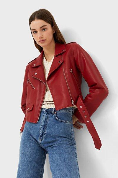 Kadın Kırmızı Kemerli Suni Deri Basic Ceket
