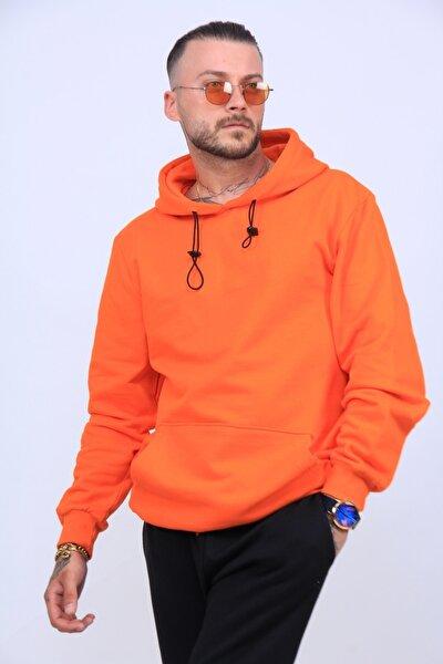 Unisex Turuncu 2iplik Polarlı Sweatshirt