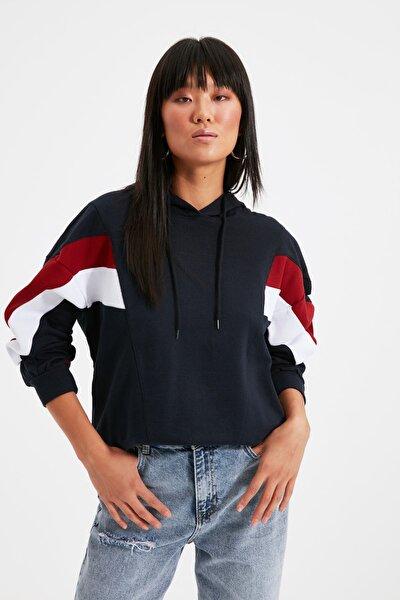 Lacivert Renk Bloklu Boyfriend Örme Sweatshirt TWOAW20SW0075
