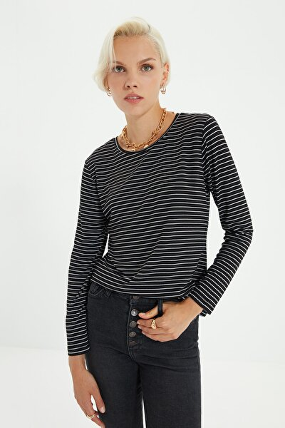 Siyah Çizgili Basic Uzun Kol Örme T-shirt TWOAW20TS0097