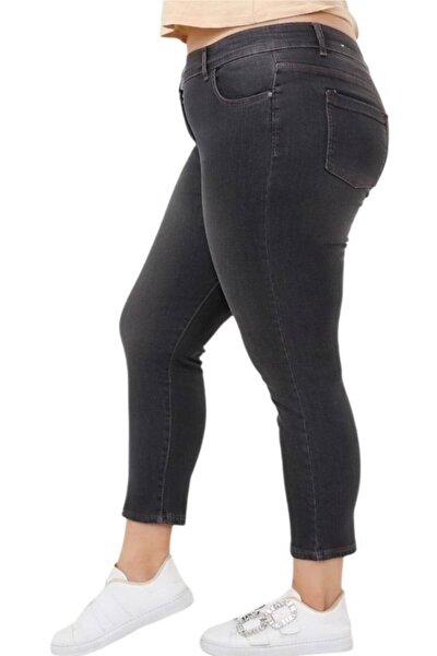 Büyük Beden Yüksek Bel Gri Yıkamalı Bilek Boy Strech Kot Pantolon