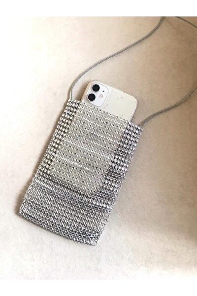 Kadın Gümüş Taş Görünümlü Telefon Çantası