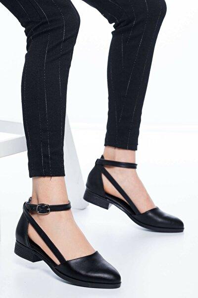 Kadın Siyah Kısa Topuk Cilt Ayakkabı