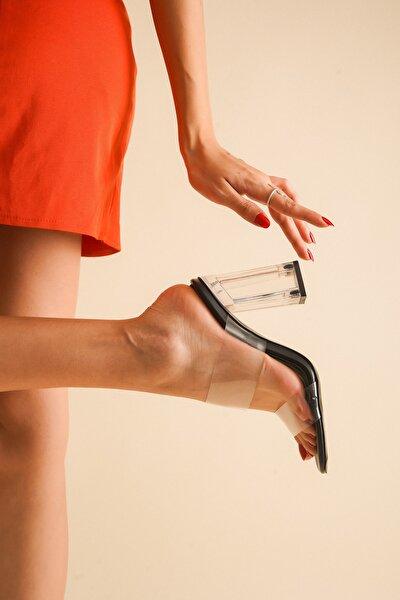 Siyah Cilt Şeffaf Topuklu Kadın Sandalet