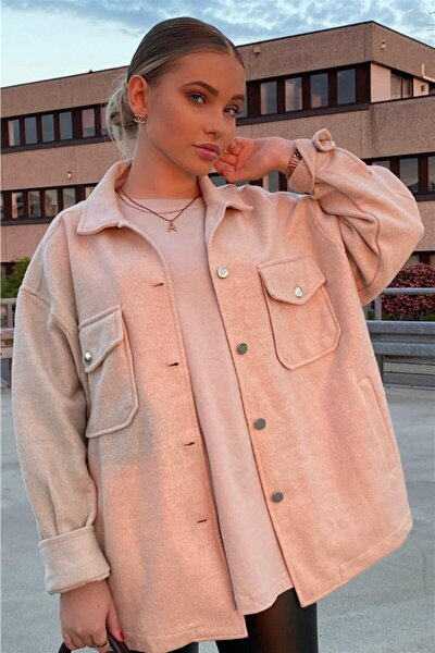 Mad Girls Pudra Over Size Yün Gömlek Ceket Mg1199