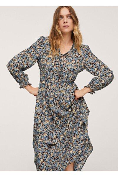 Kadın Mavi Desenli Fiyonklu Elbise