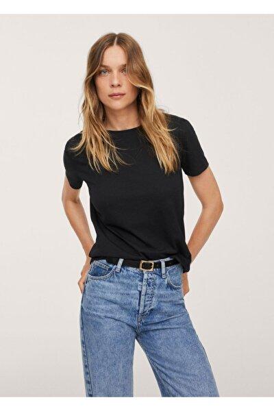 Kadın Siyah Gündelik Koton Tişört