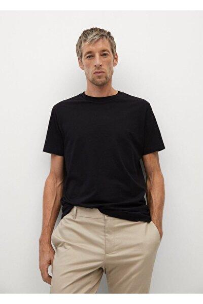 Erkek Siyah Sürdürülebilir Pamuklu Basic Tişört