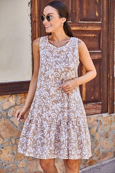 Kadın Vizon Küçük Çiçek Desenli Kolsuz Elbise