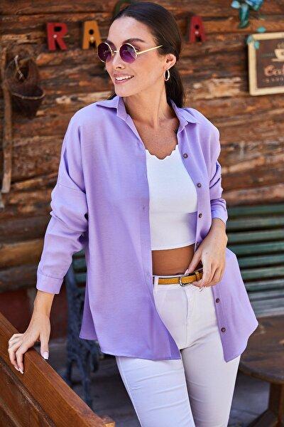 Kadın Lila Oversize Uzun Basic Gömlek