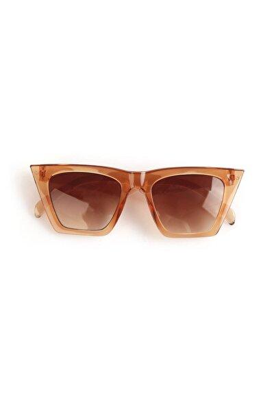 Köşeli Cat Eye Kadın Kahverengi Güneş Gözlüğü 2