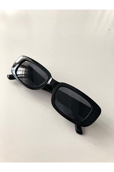 Unisex Siyah Kare Dikdörtgen Vintage-Retro Güneş Gözlüğü