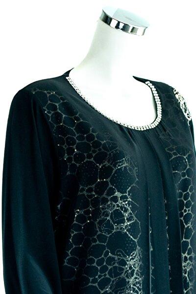 Kadın Siyah Anne Butik Bluz Zümrüt Peteği Desenli Pullu Rahat Kesim Likralı Sandy Kumaş
