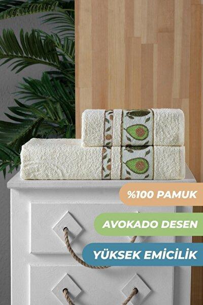 2'li Avokado Banyo Havlu Seti Hamam Takımı 100% Pamuk