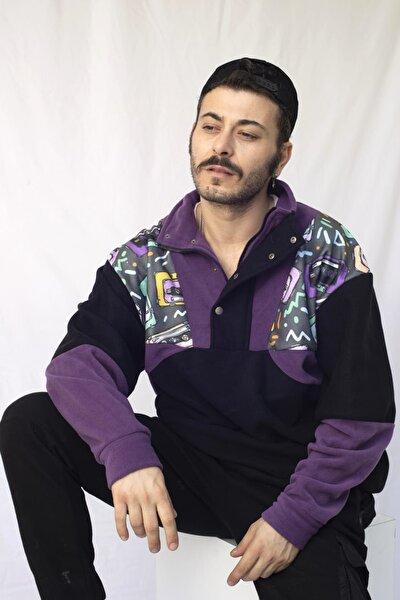 Unisex Siyah Mor Yarım Fermuarlı Polar Sweatshirt