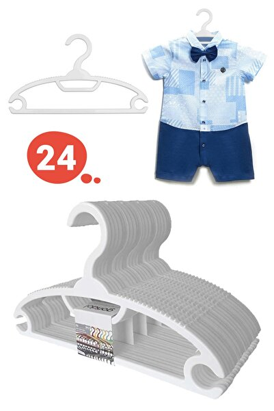 Bebek Elbise Askısı Bebek Çocuk Giysi Kıyafet Askısı 24 Adet Gondol Beyaz Askı
