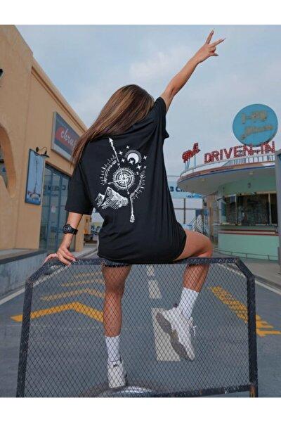 Kadın Siyah Pusula Baskılı T-shirt