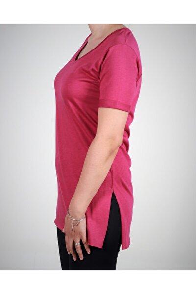 Kadın Fuşya Tunik V Yaka Tişört