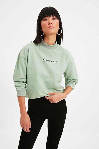 Mint Baskılı Dik Yaka Örme Sweatshirt TWOAW21SW0785