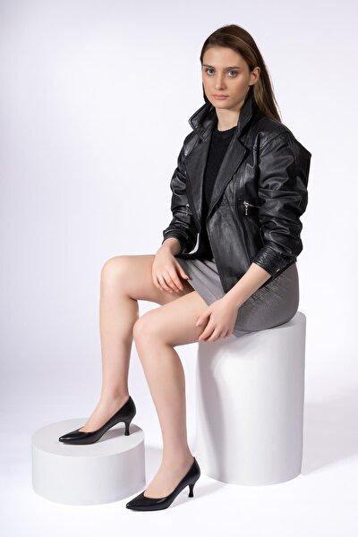 Hakiki Deri Kadın Alçak Topuk Stiletto Sivri Burun Ayakkabı