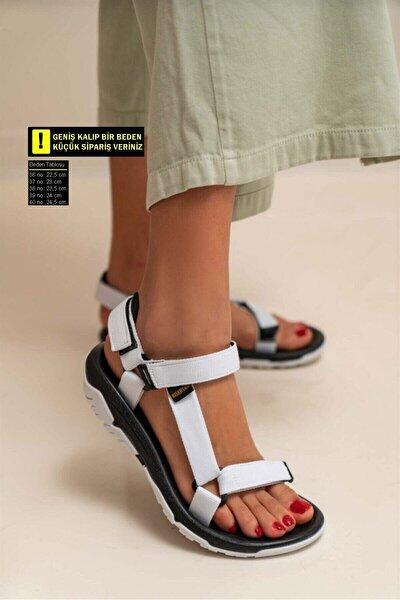 Kadın Sandalet Step Sandalet Deniz Yürüyüş Düz Taban Cırtlı