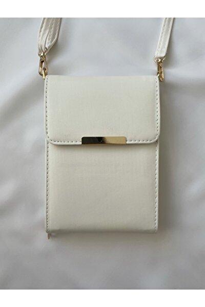 Beyaz Deri Askılı Telefonluk Çanta Cüzdan Kartlık Gündelik Küçük Çanta Büyük Boy Cüzdan