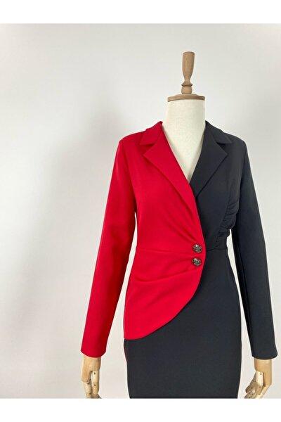 Kadın Ceket Elbise Iki Renkli Siyah Kırmızı