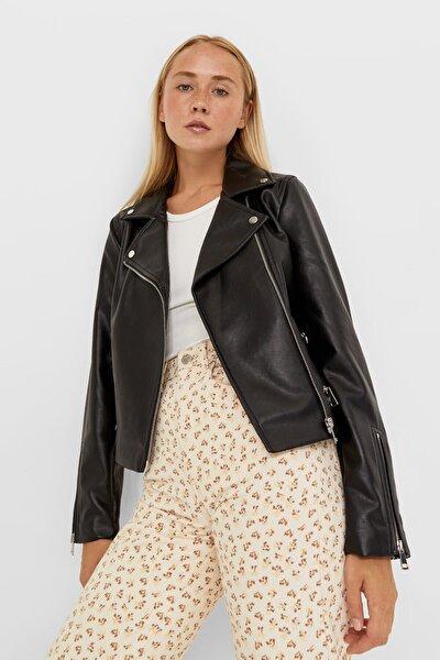 Kadın Siyah Suni Deri Biker Ceket