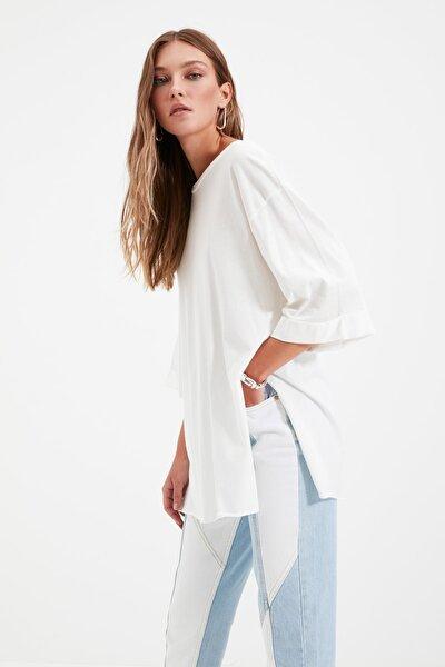 Ekru Duble Kol Asimetrik Boyfriend Örme T-Shirt TWOSS20TS0828