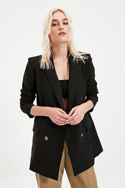 Siyah Düğmeli Oversize Kruvaze Blazer Ceket TWOAW21CE0145