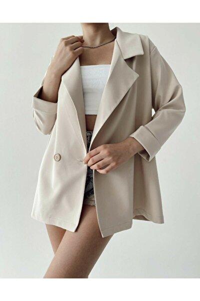 Kadın Krem Oversize Kruvaze Yaka Blazer Ceket Önden Çift Düğmeli