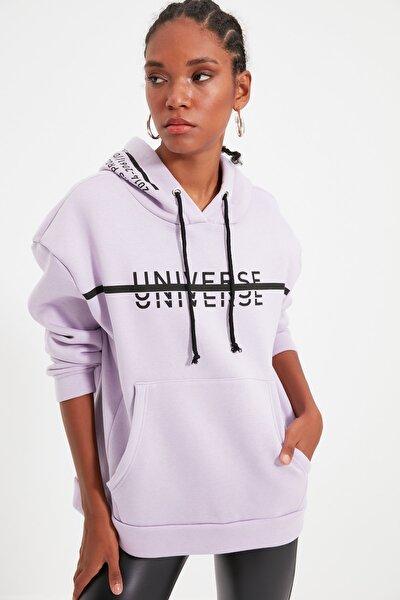 Lila Baskılı Kapüşonlu Oversize Örme İnce Sweatshirt TWOAW21SW0036