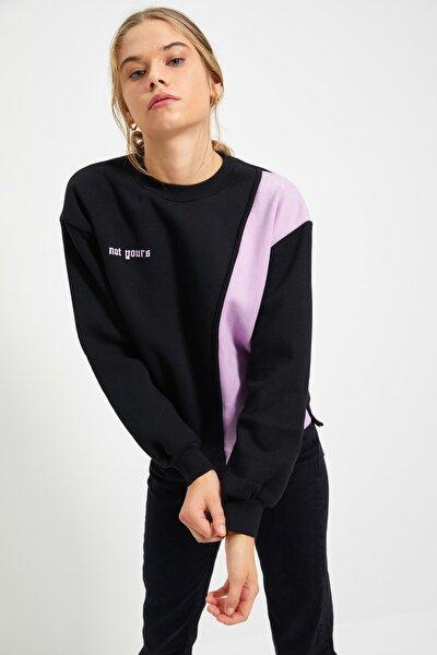 Siyah Ön ve Sırt Baskılı Basic Örme Şardonlu Sweatshirt TWOAW21SW0150