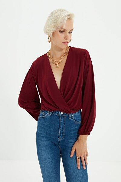 Bordo Kruvaze Örme Bluz TWOAW20BZ0810