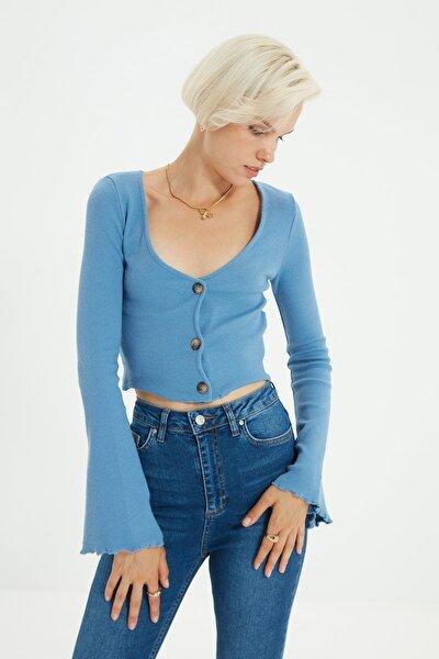 Mavi Düğmeli Fitilli Örme Bluz TWOAW21BZ0684
