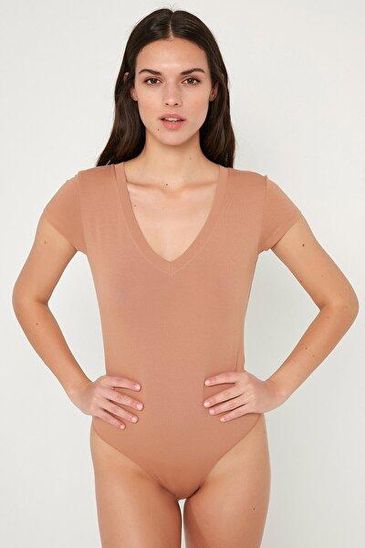 Açık Kahverengi Tişört Cotton Bodysuit