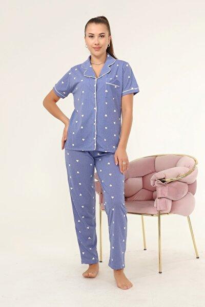 Ladymina Mavi Kalpli Pijama Takımı
